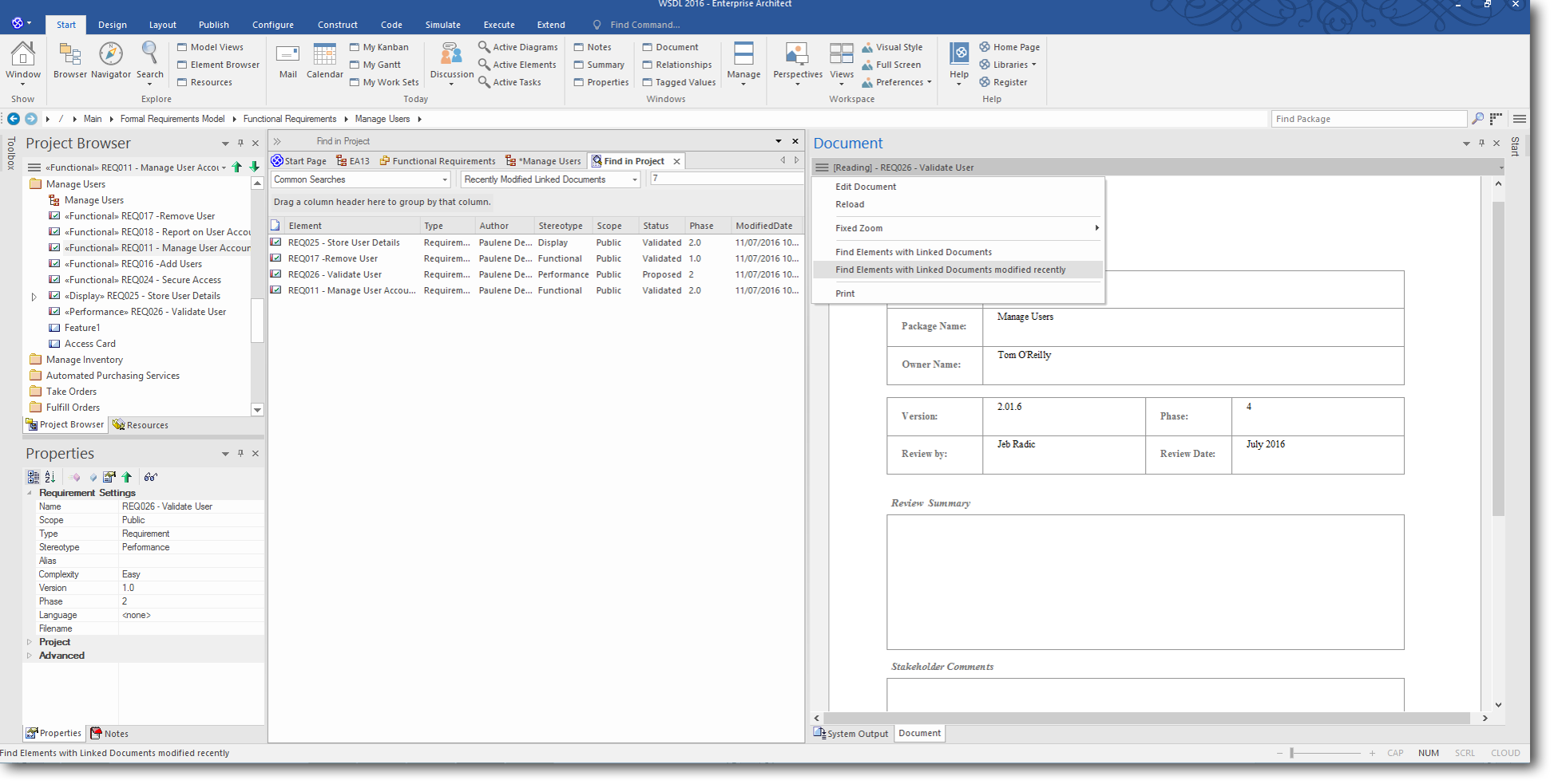 Enterprise Architect 13 Beta: Searches and Charts - Document View