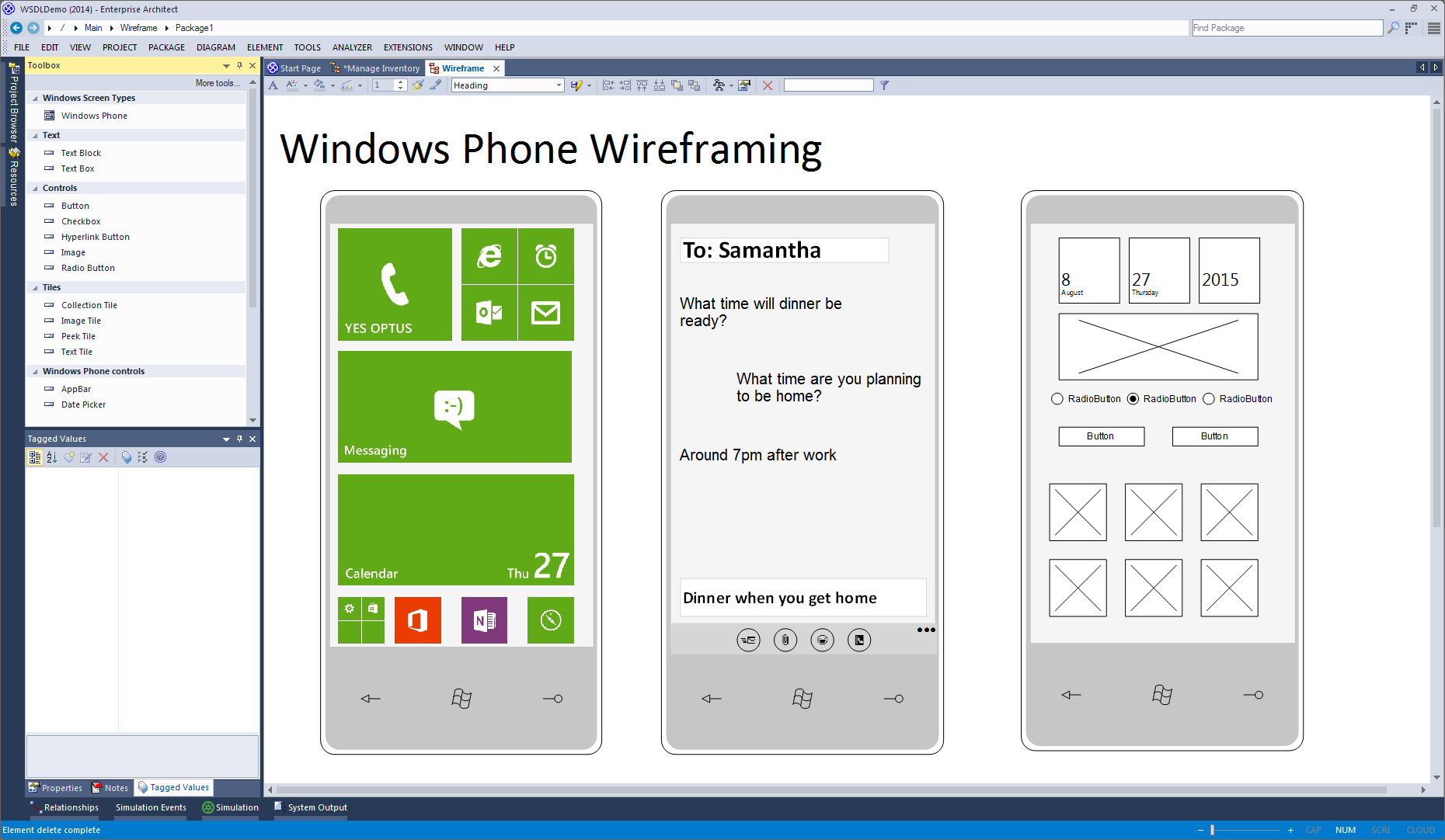 Enterprise Architect 专业版: Windows Phone的框线图